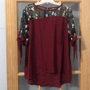 Tie sleeve, embroidered shoulder blouse